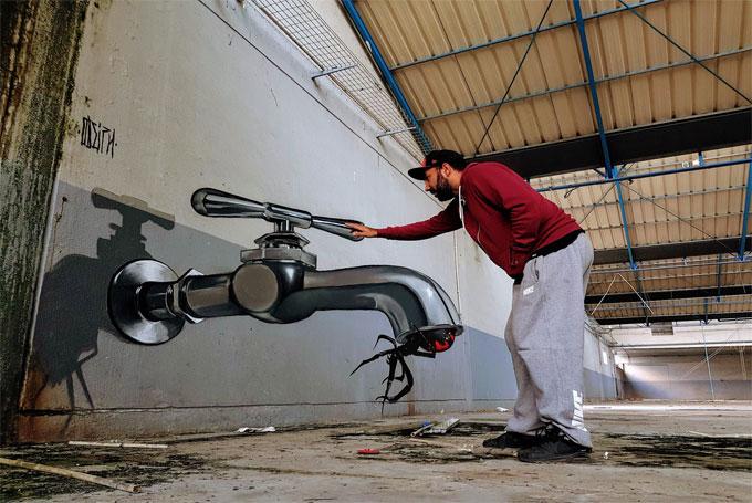 Odeith, el artista que utiliza el graffiti para crear ilusiones ópticas